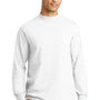 Port & Company Mens Essential Long Sleeve Mock Neck T-Shirt - White