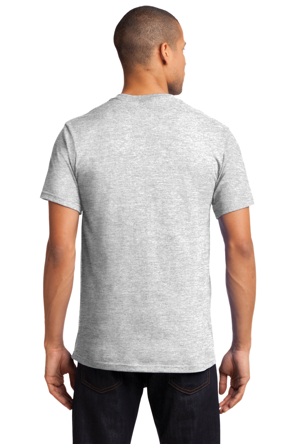 Port & Company PC61P Mens Essential Short Sleeve Crewneck T-Shirt w/ Pocket Ash Grey Back