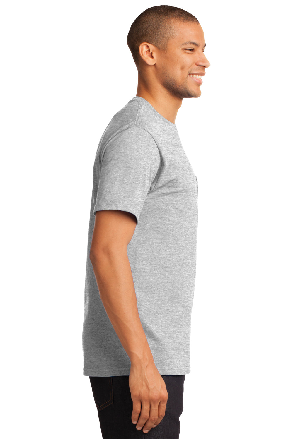 Port & Company PC61P Mens Essential Short Sleeve Crewneck T-Shirt w/ Pocket Ash Grey Side