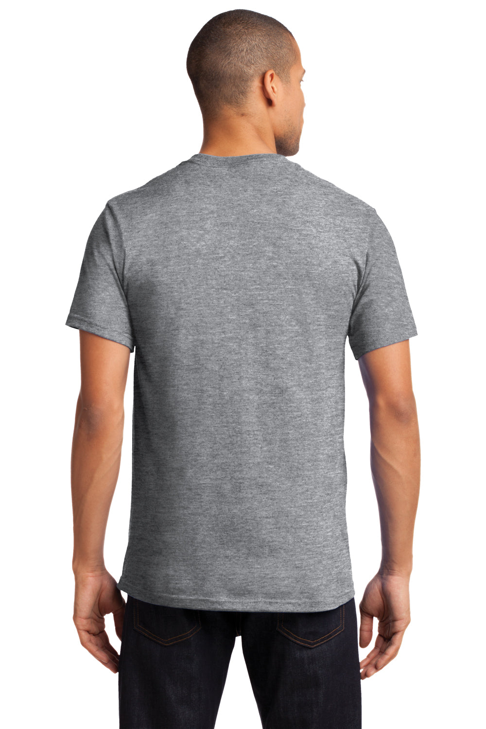 Port & Company PC61P Mens Essential Short Sleeve Crewneck T-Shirt w/ Pocket Heather Grey Back