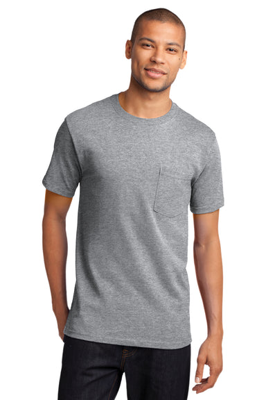 Port & Company PC61P Mens Essential Short Sleeve Crewneck T-Shirt w/ Pocket Heather Grey Front