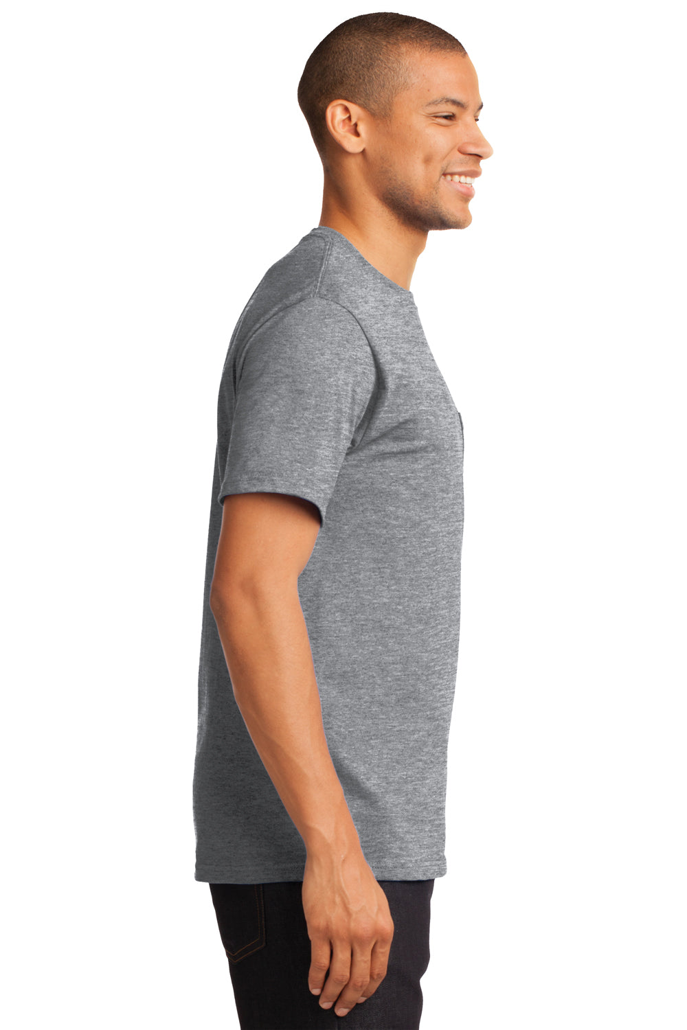 Port & Company PC61P Mens Essential Short Sleeve Crewneck T-Shirt w/ Pocket Heather Grey Side