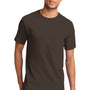 Port & Company Mens Essential Short Sleeve Crewneck T-Shirt w/ Pocket - Brown