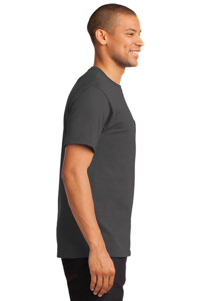 Port & Company PC61P Mens Essential Short Sleeve Crewneck T-Shirt w/ Pocket Charcoal Grey Side