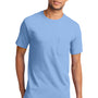 Port & Company Mens Essential Short Sleeve Crewneck T-Shirt w/ Pocket - Light Blue