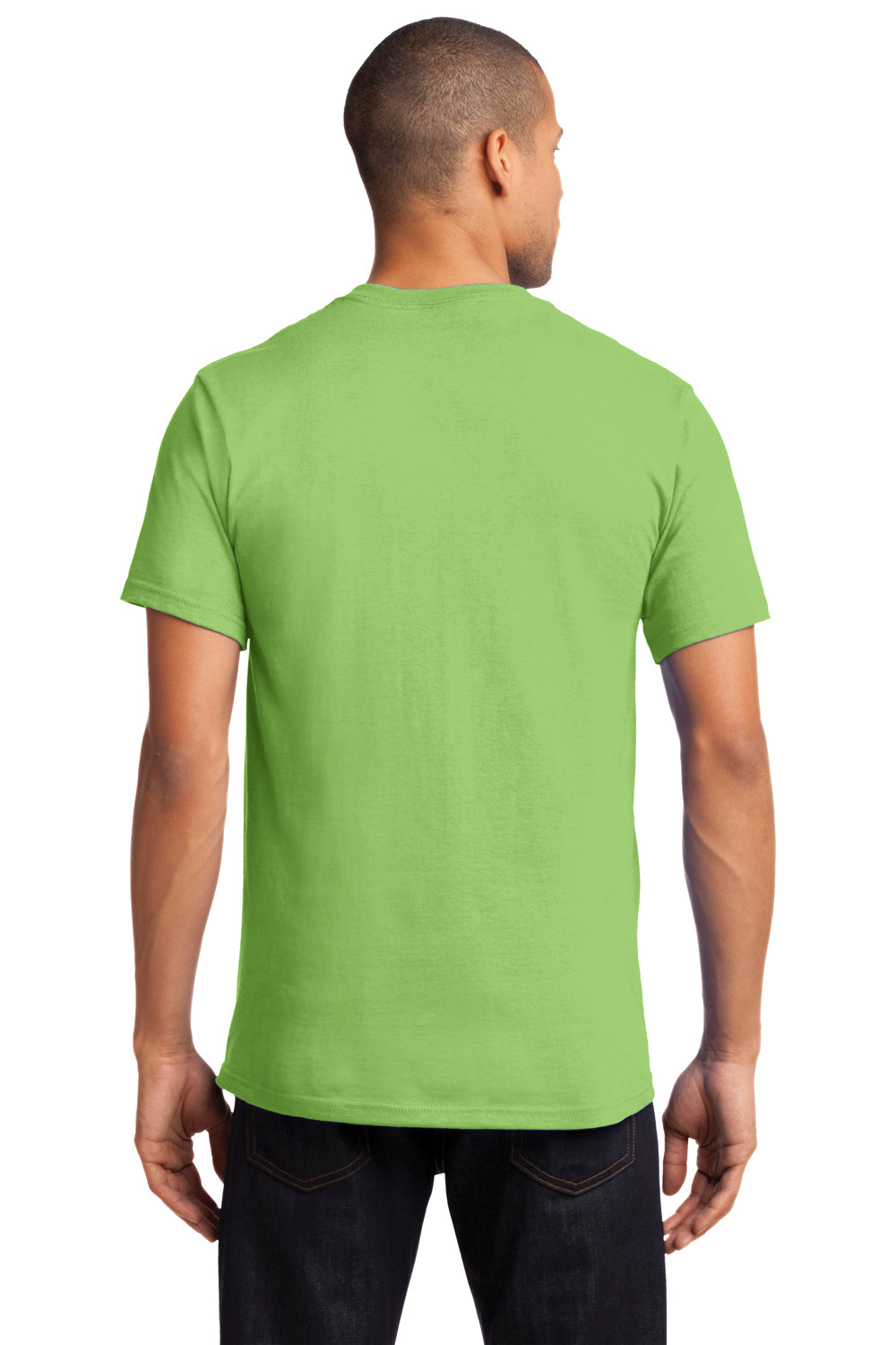 Port & Company PC61P Mens Essential Short Sleeve Crewneck T-Shirt w/ Pocket Lime Green Back