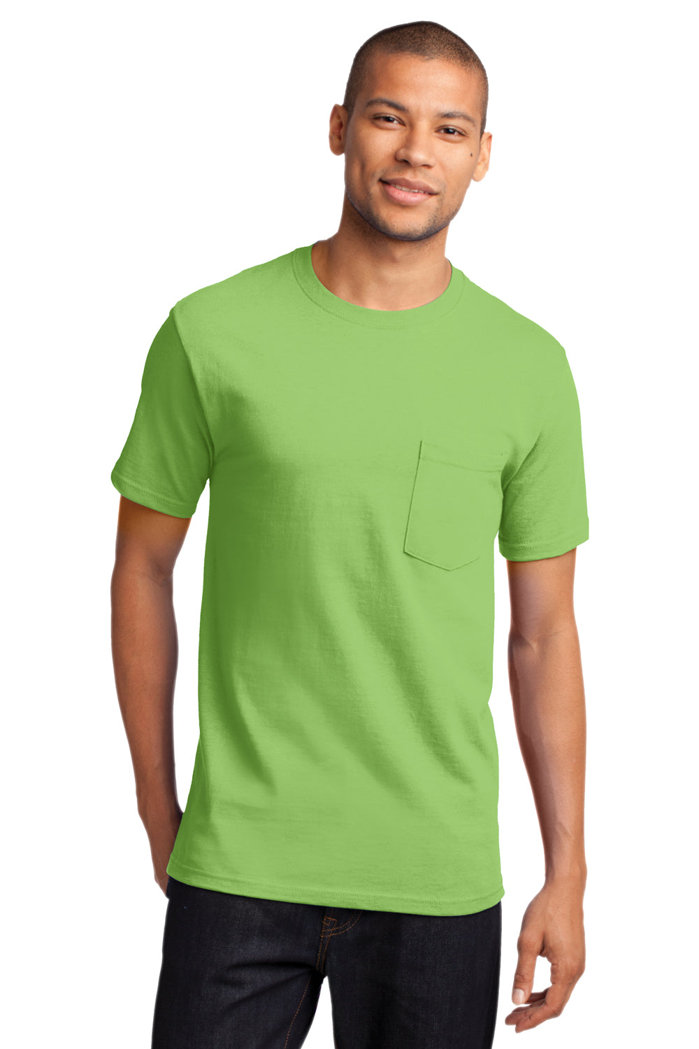 Port & Company PC61P Mens Essential Short Sleeve Crewneck T-Shirt w/ Pocket Lime Green Front