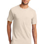 Port & Company Mens Essential Short Sleeve Crewneck T-Shirt w/ Pocket - Natural
