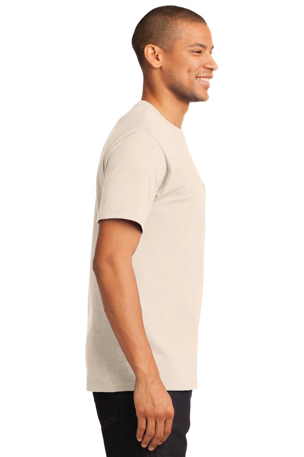 Port & Company PC61P Mens Essential Short Sleeve Crewneck T-Shirt w/ Pocket Natural Side