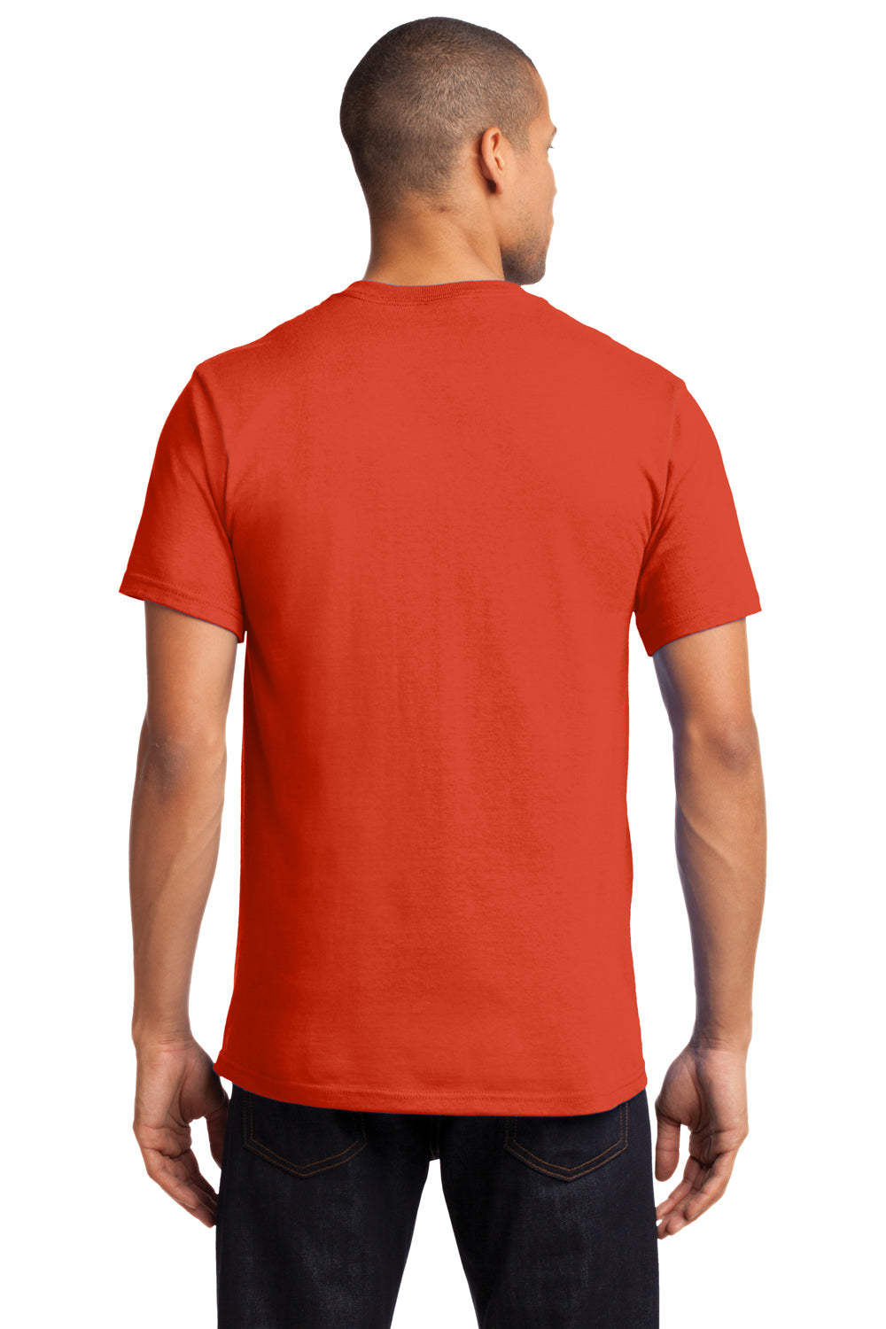 Port & Company PC61P Mens Essential Short Sleeve Crewneck T-Shirt w/ Pocket Orange Back