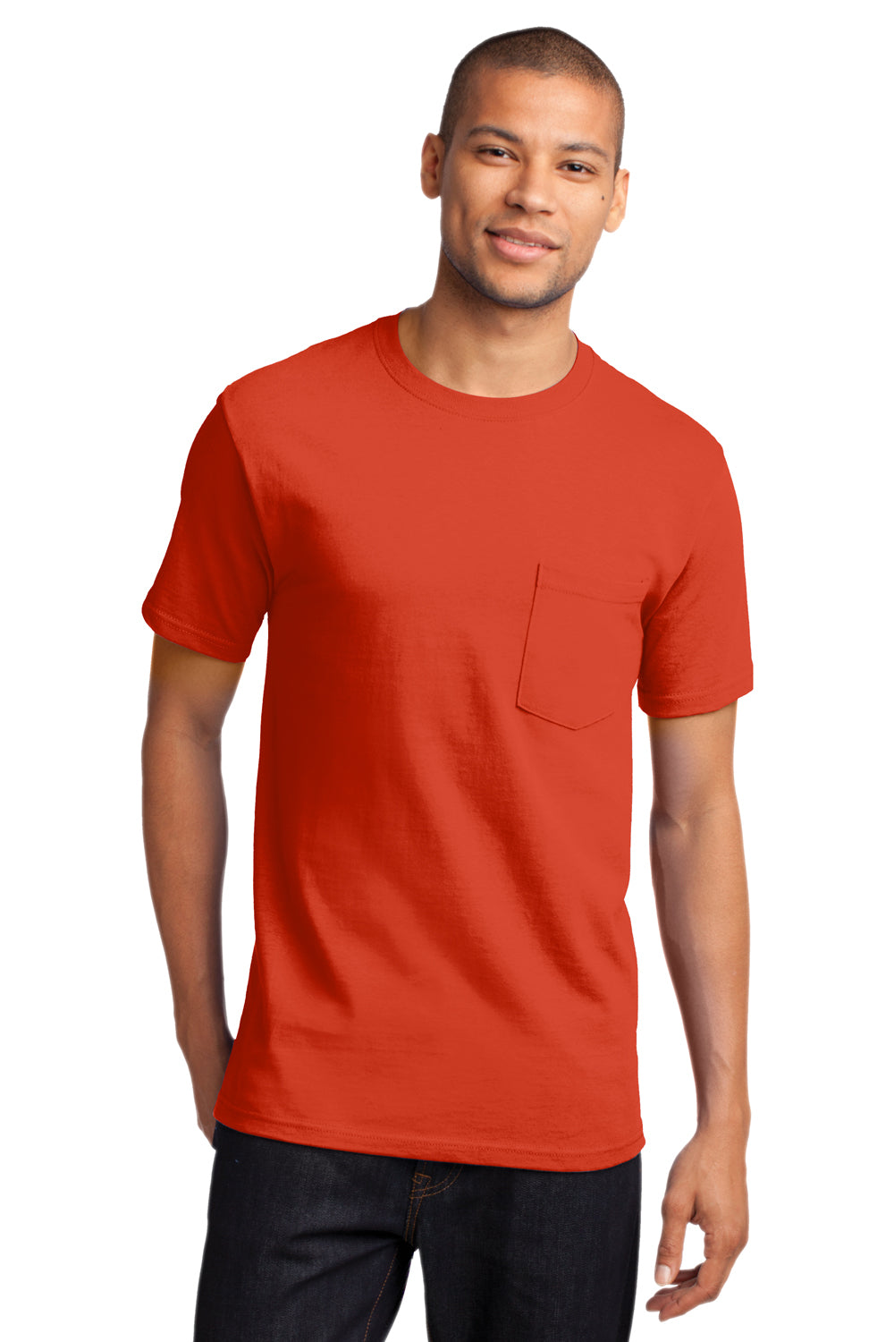 Port & Company PC61P Mens Essential Short Sleeve Crewneck T-Shirt w/ Pocket Orange Front