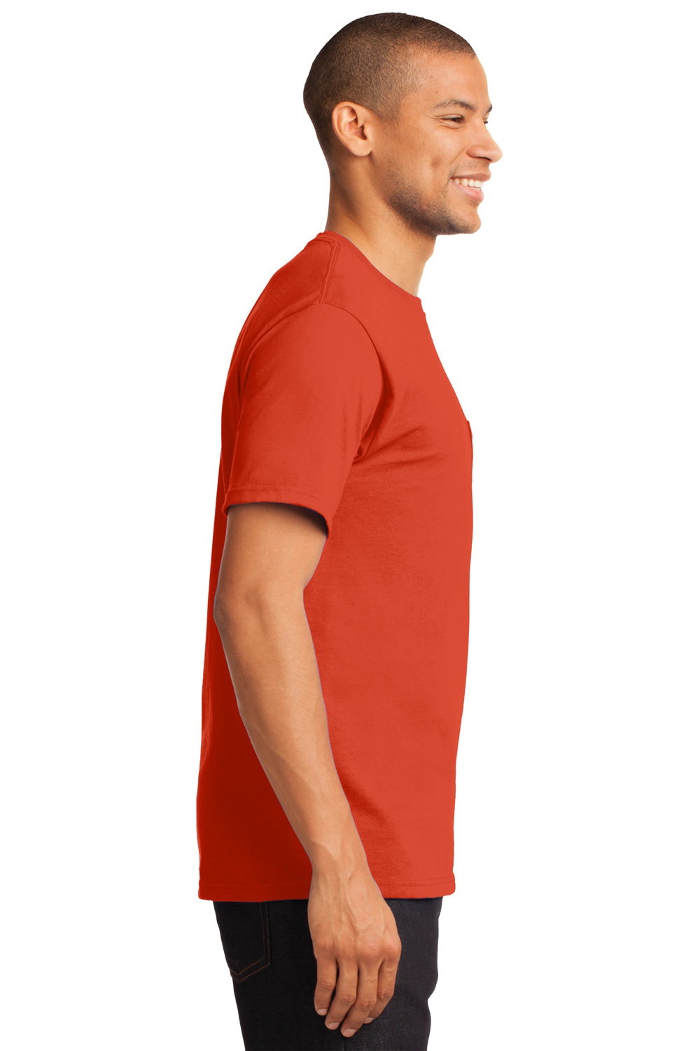 Port & Company PC61P Mens Essential Short Sleeve Crewneck T-Shirt w/ Pocket Orange Side
