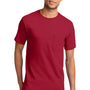 Port & Company Mens Essential Short Sleeve Crewneck T-Shirt w/ Pocket - Red