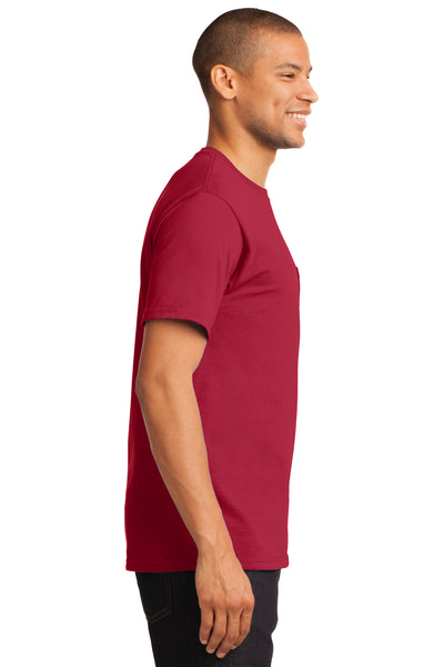 Port & Company PC61P Mens Essential Short Sleeve Crewneck T-Shirt w/ Pocket Red Side