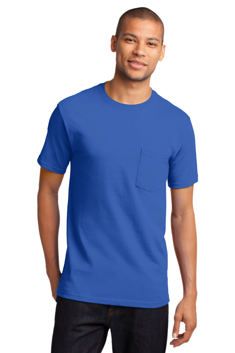 Port & Company PC61P Mens Essential Short Sleeve Crewneck T-Shirt w/ Pocket Royal Blue Front