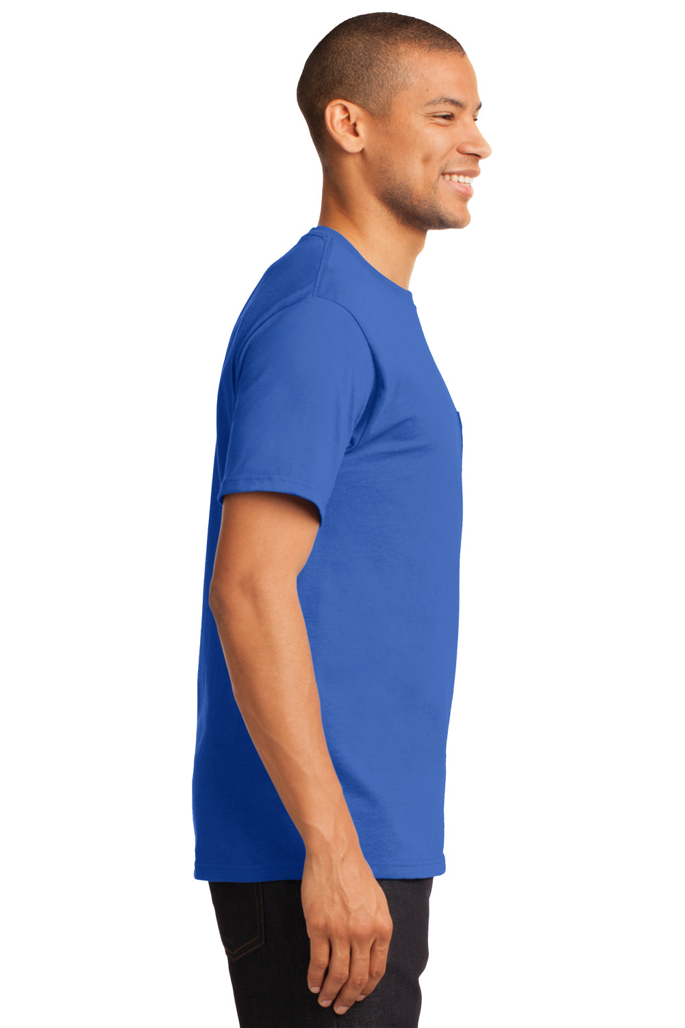 Port & Company PC61P Mens Essential Short Sleeve Crewneck T-Shirt w/ Pocket Royal Blue Side