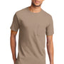 Port & Company Mens Essential Short Sleeve Crewneck T-Shirt w/ Pocket - Sand