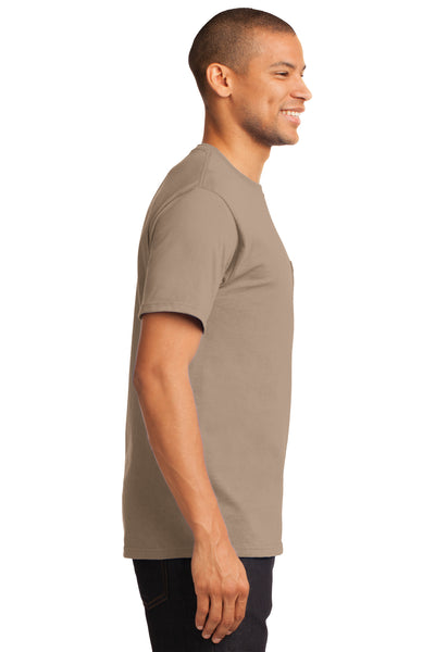 Port & Company PC61P Mens Essential Short Sleeve Crewneck T-Shirt w/ Pocket Sand Brown Side