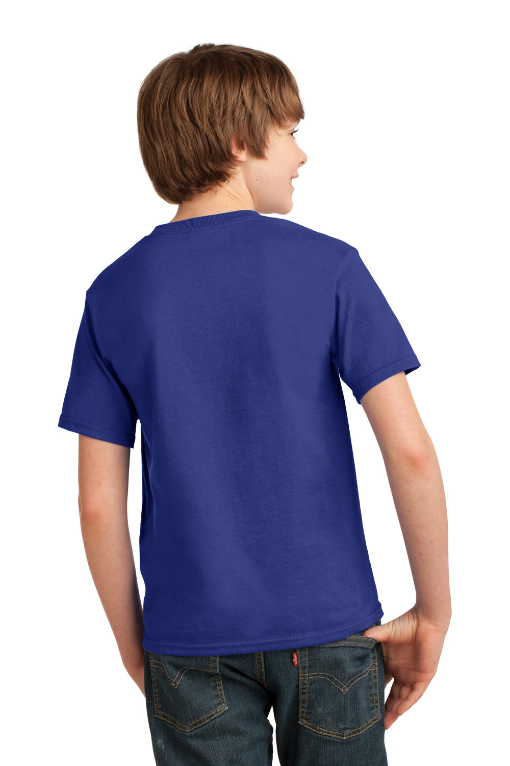 Port & Company PC61Y Youth Essential Short Sleeve Crewneck T-Shirt Deep Marine Blue Back