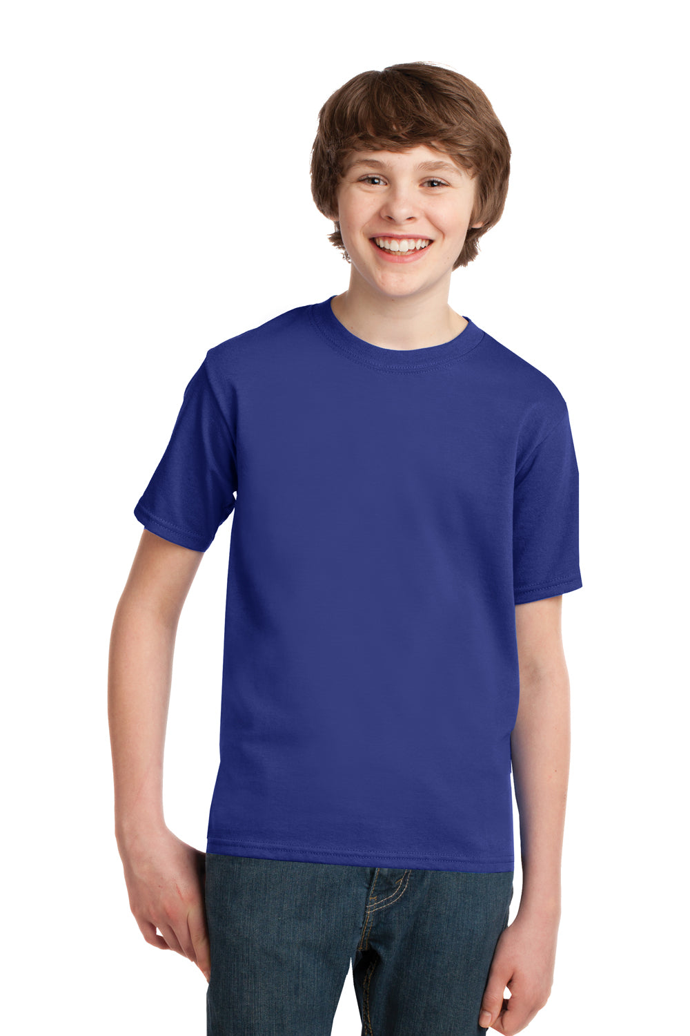 Port & Company PC61Y Youth Essential Short Sleeve Crewneck T-Shirt Deep Marine Blue Front