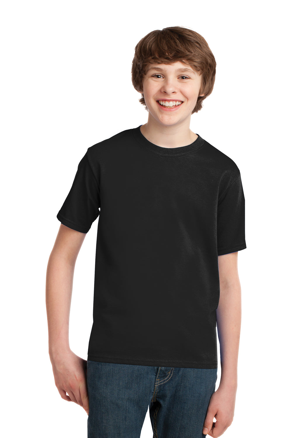 Port & Company PC61Y Youth Essential Short Sleeve Crewneck T-Shirt Black Front