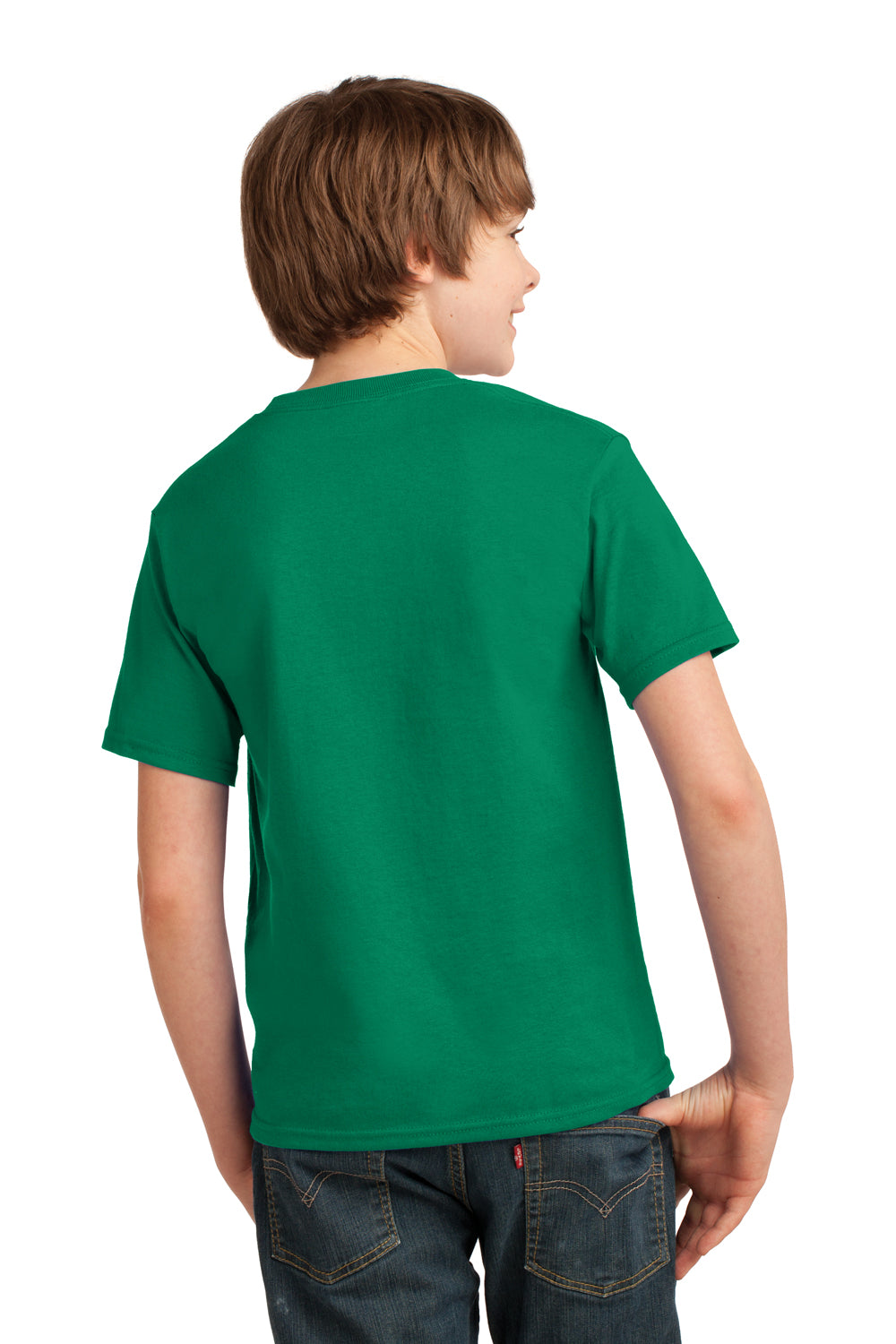 Port & Company PC61Y Youth Essential Short Sleeve Crewneck T-Shirt Kelly Green Back