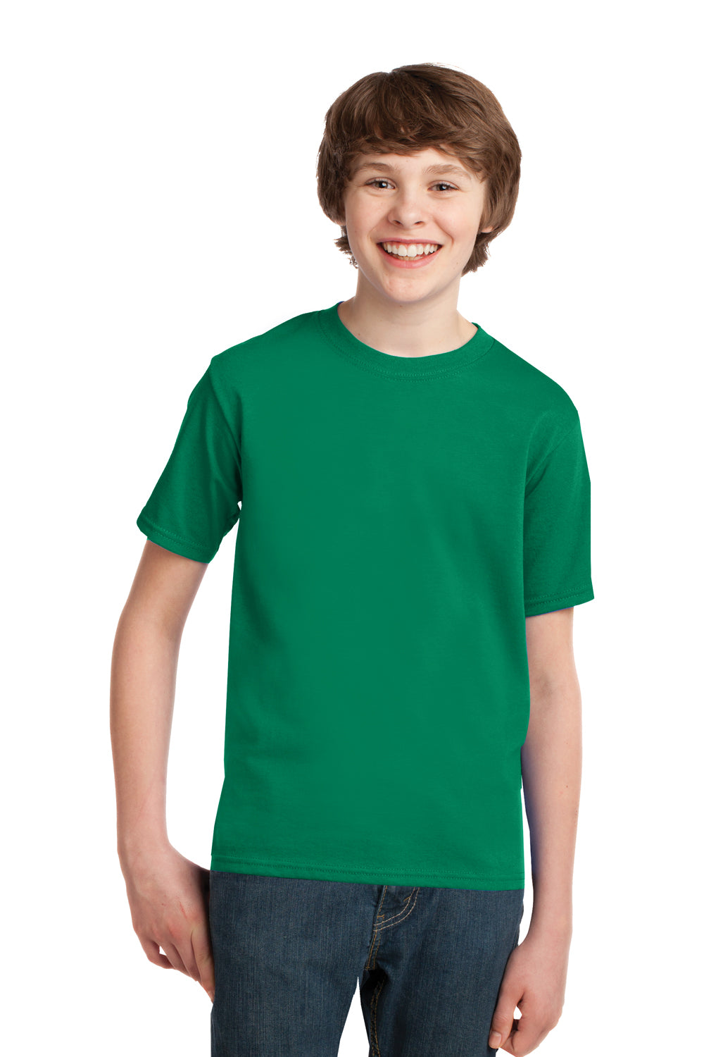 Port & Company PC61Y Youth Essential Short Sleeve Crewneck T-Shirt Kelly Green Front