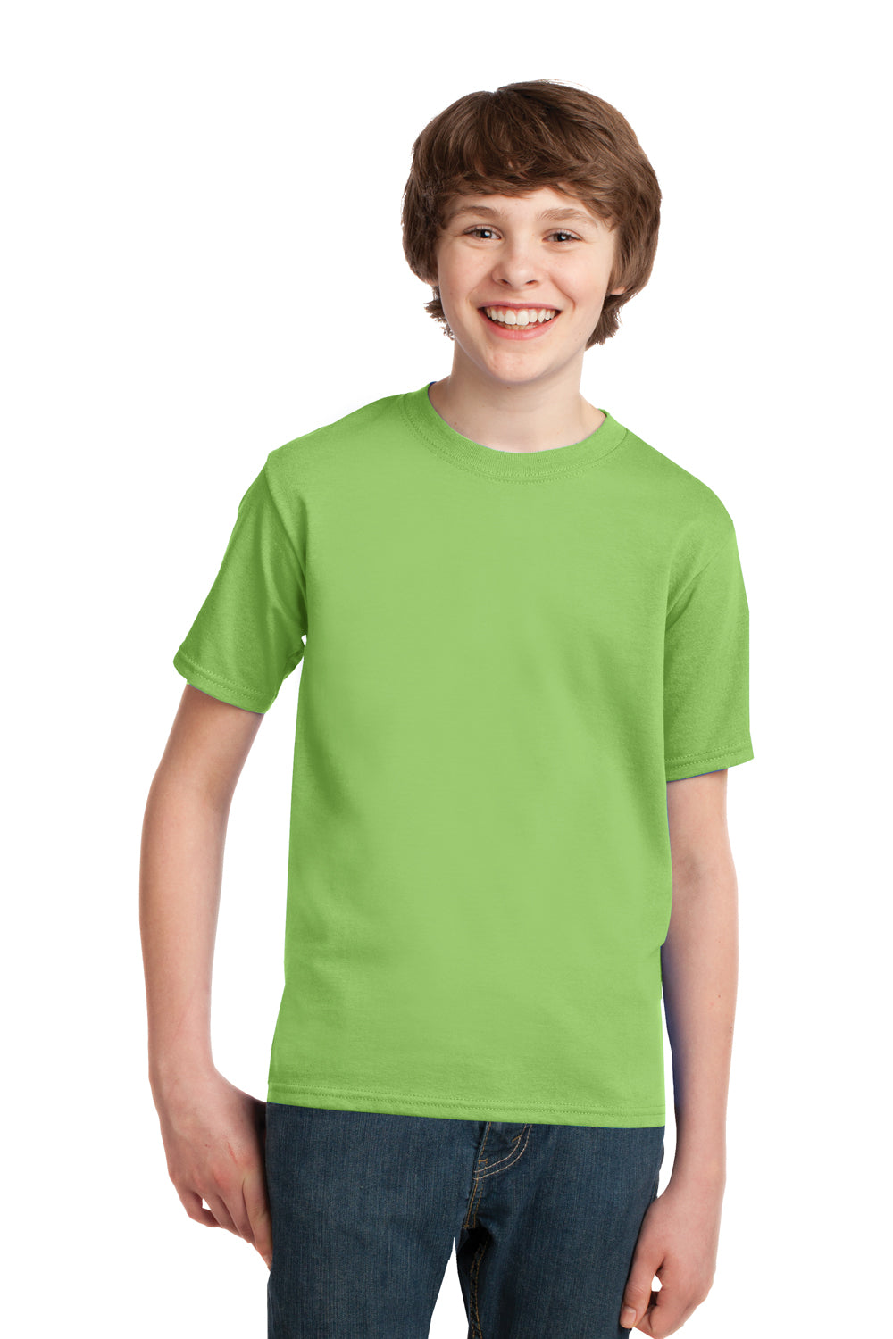 Port & Company PC61Y Youth Essential Short Sleeve Crewneck T-Shirt Lime Green Front