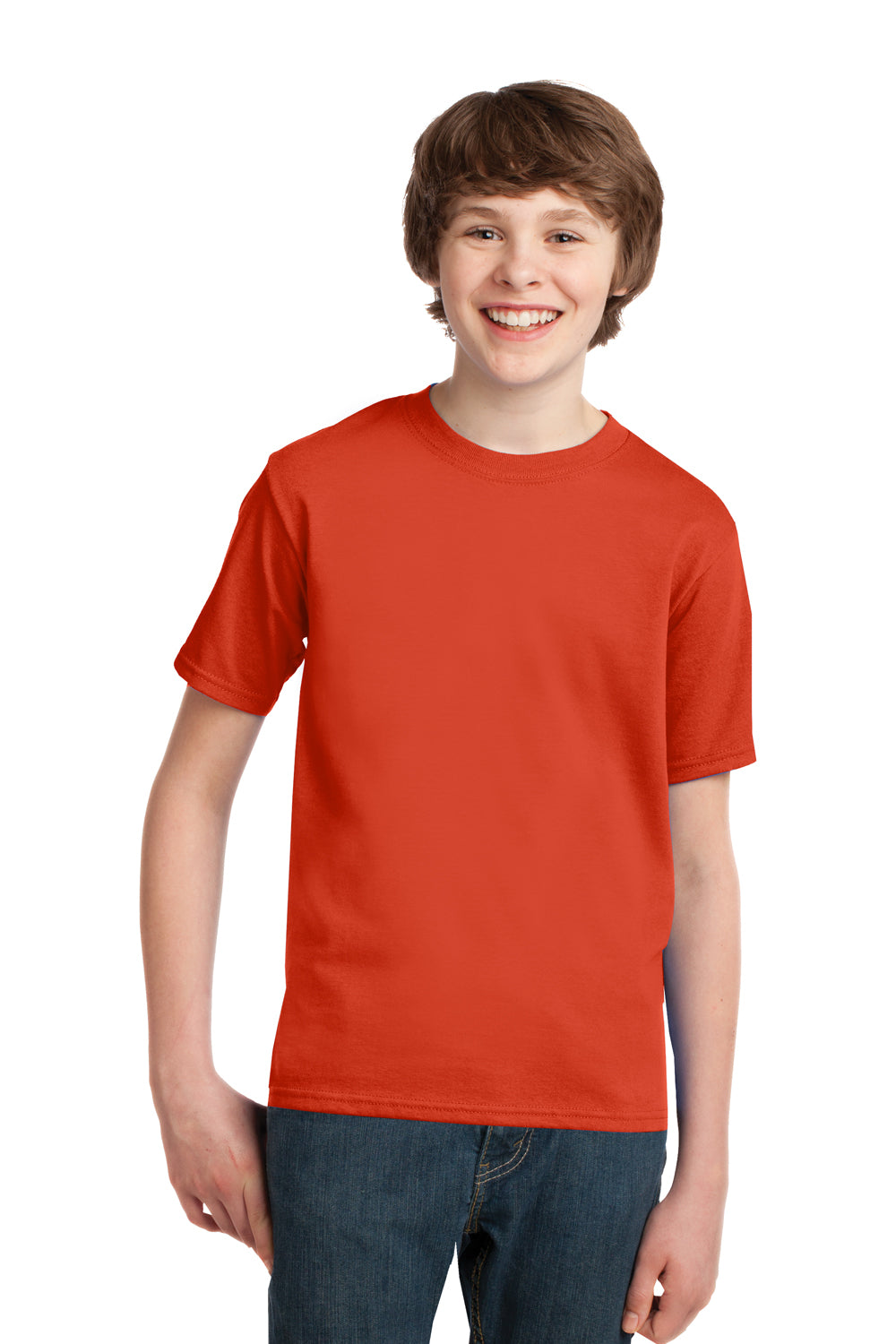 Port & Company PC61Y Youth Essential Short Sleeve Crewneck T-Shirt Orange Front