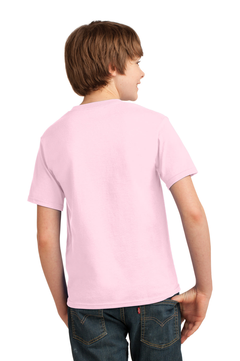 Port & Company PC61Y Youth Essential Short Sleeve Crewneck T-Shirt Pale Pink Back