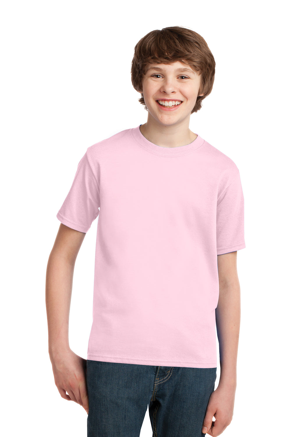 Port & Company PC61Y Youth Essential Short Sleeve Crewneck T-Shirt Pale Pink Front