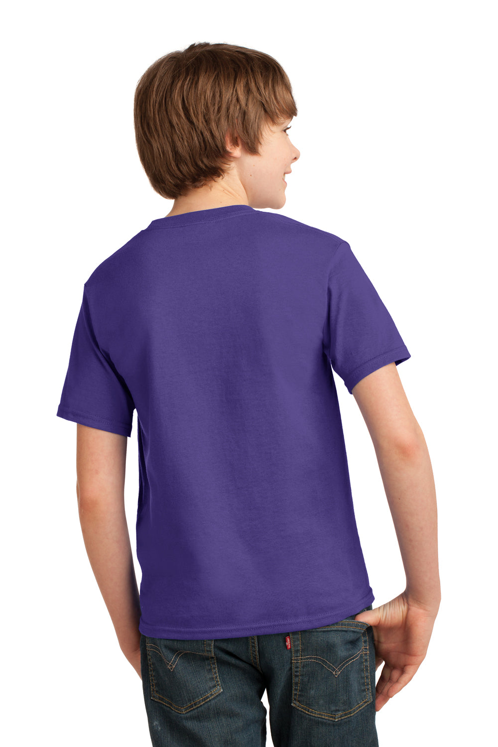 Port & Company PC61Y Youth Essential Short Sleeve Crewneck T-Shirt Purple Back