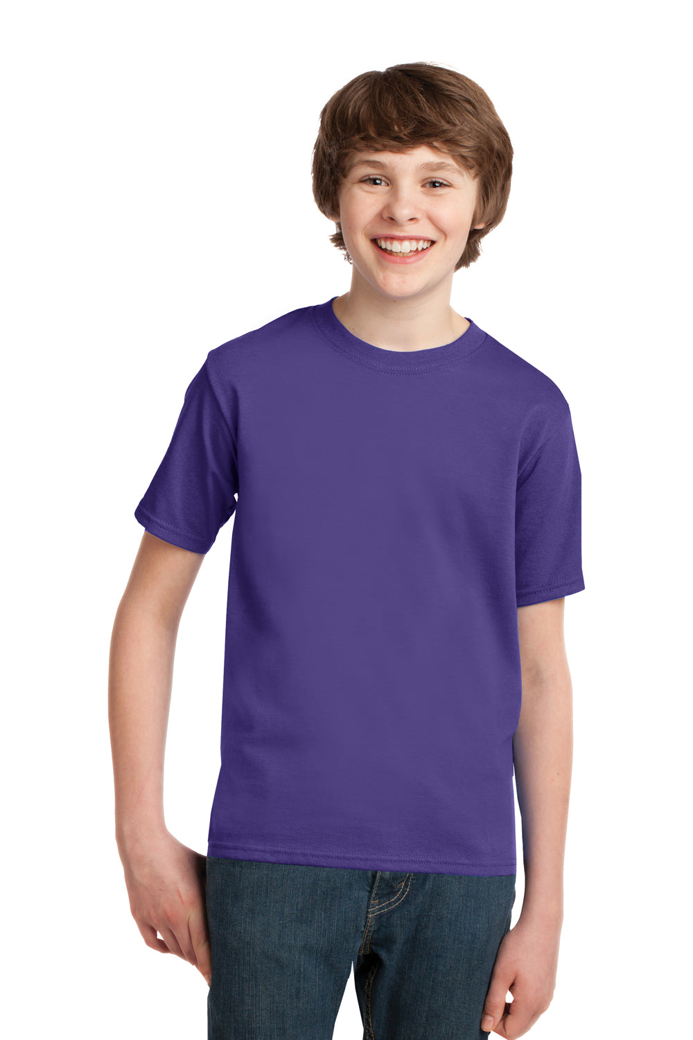 Port & Company PC61Y Youth Essential Short Sleeve Crewneck T-Shirt Purple Front