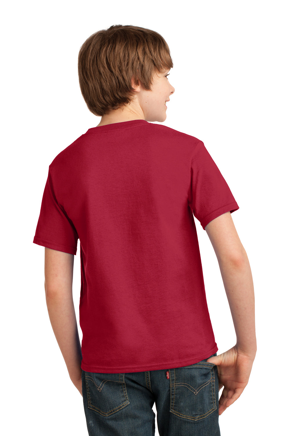 Port & Company PC61Y Youth Essential Short Sleeve Crewneck T-Shirt Red Back