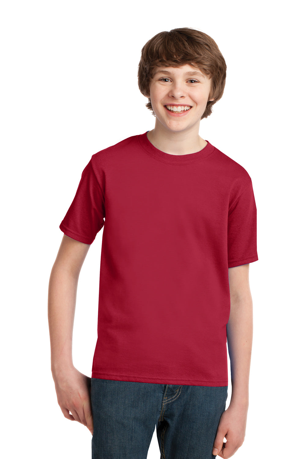 Port & Company PC61Y Youth Essential Short Sleeve Crewneck T-Shirt Red Front