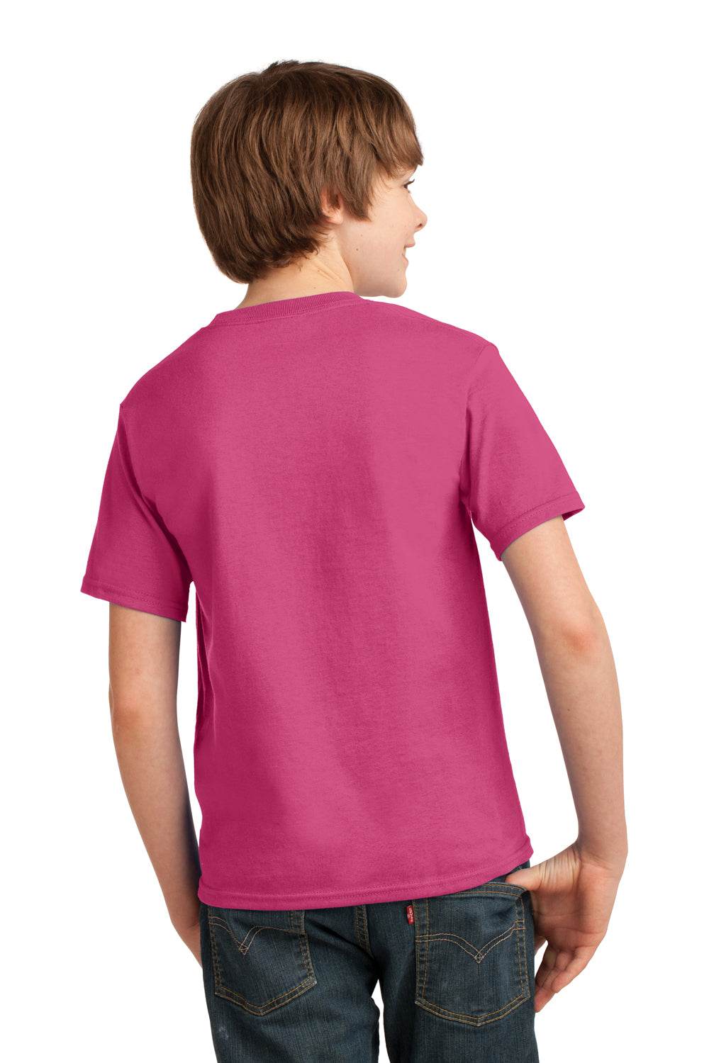 Port & Company PC61Y Youth Essential Short Sleeve Crewneck T-Shirt Sangria Pink Back