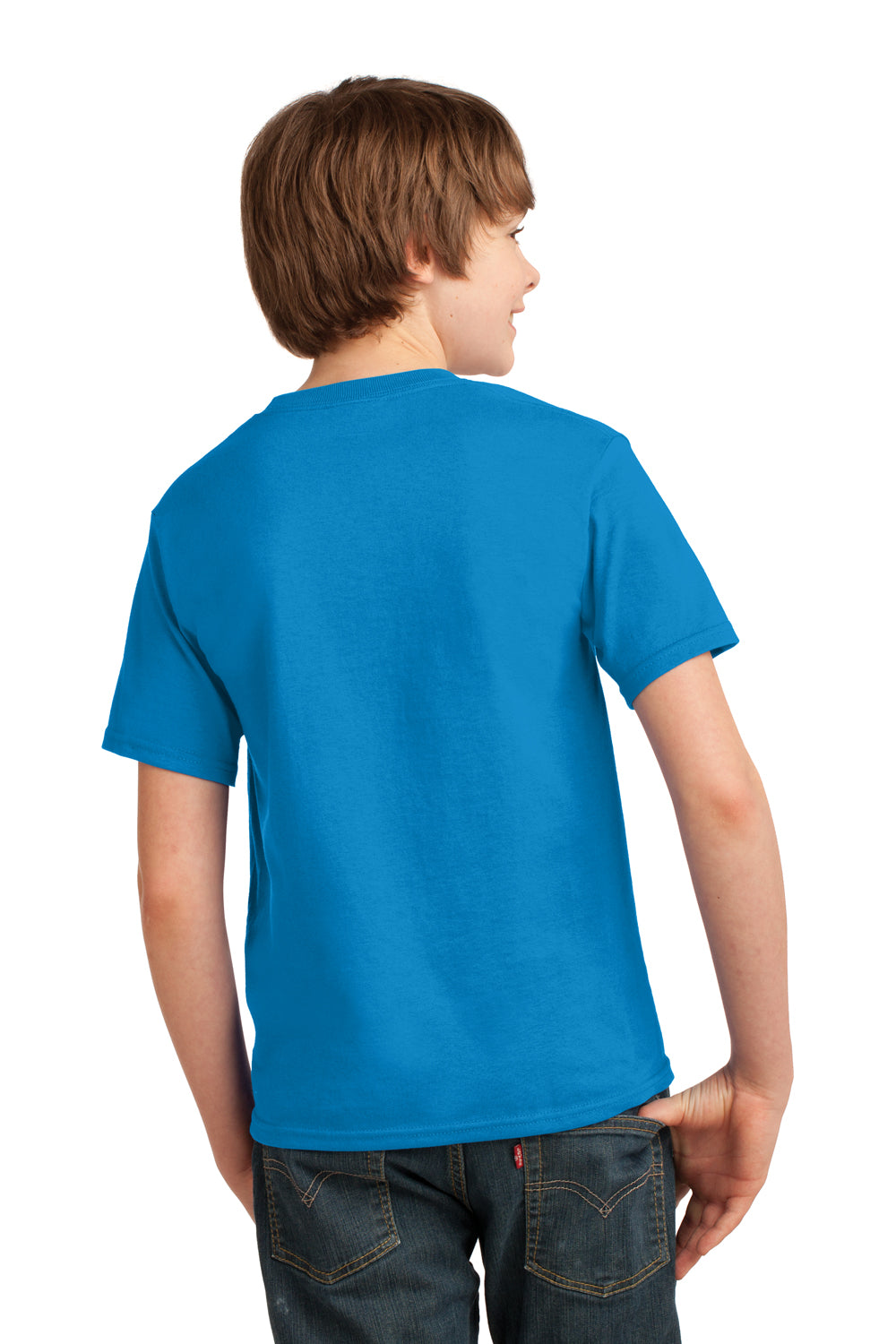 Port & Company PC61Y Youth Essential Short Sleeve Crewneck T-Shirt Sapphire Blue Back