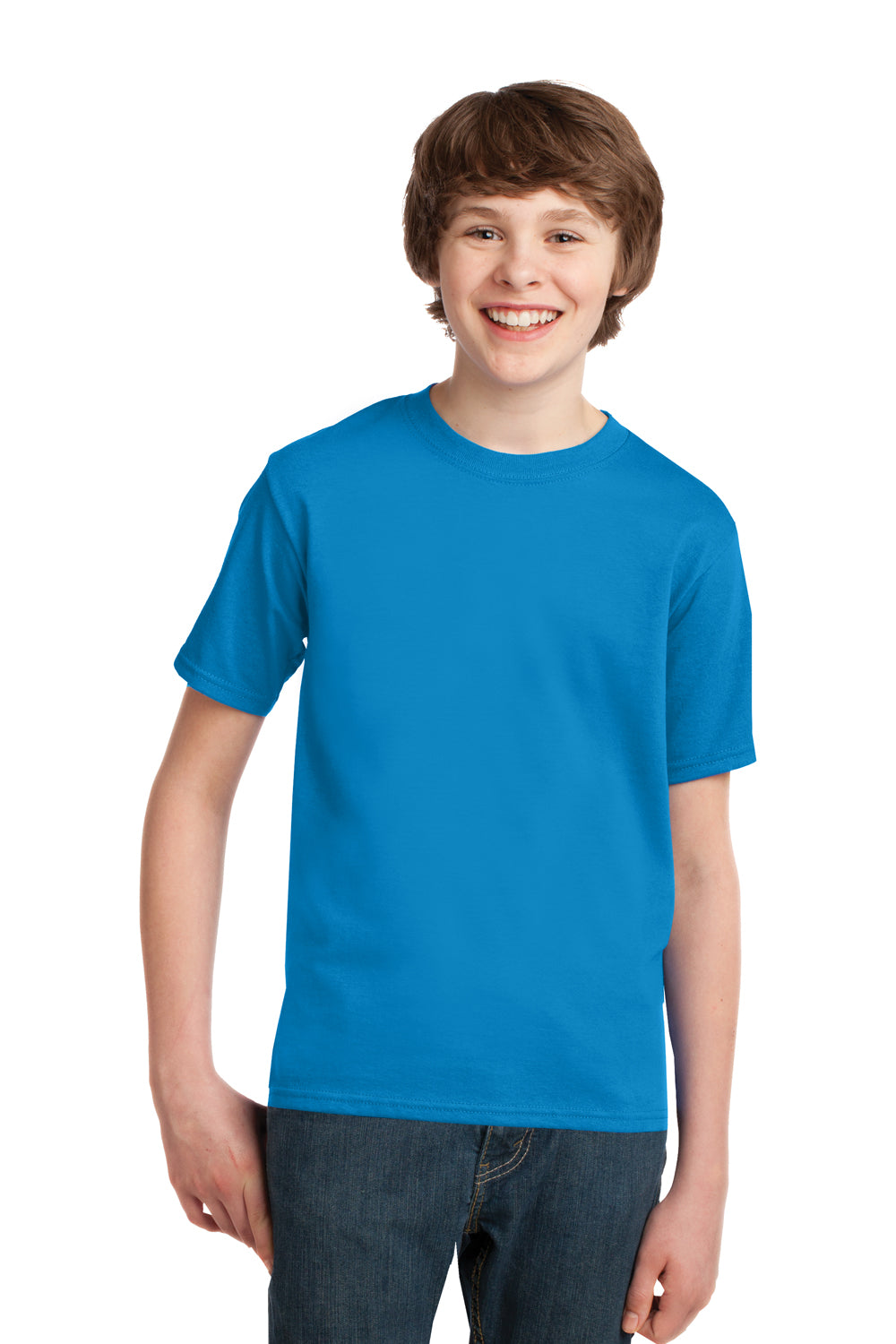 Port & Company PC61Y Youth Essential Short Sleeve Crewneck T-Shirt Sapphire Blue Front