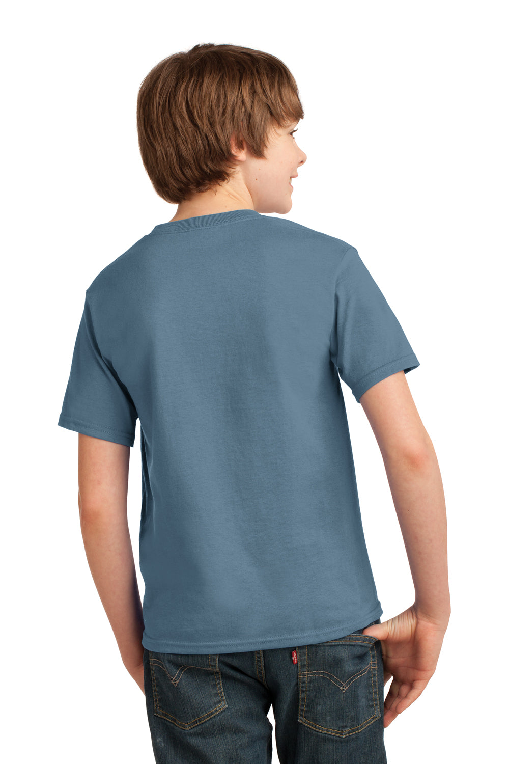 Port & Company PC61Y Youth Essential Short Sleeve Crewneck T-Shirt Stonewashed Blue Back