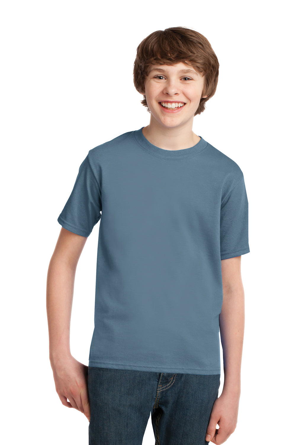 Port & Company PC61Y Youth Essential Short Sleeve Crewneck T-Shirt Stonewashed Blue Front