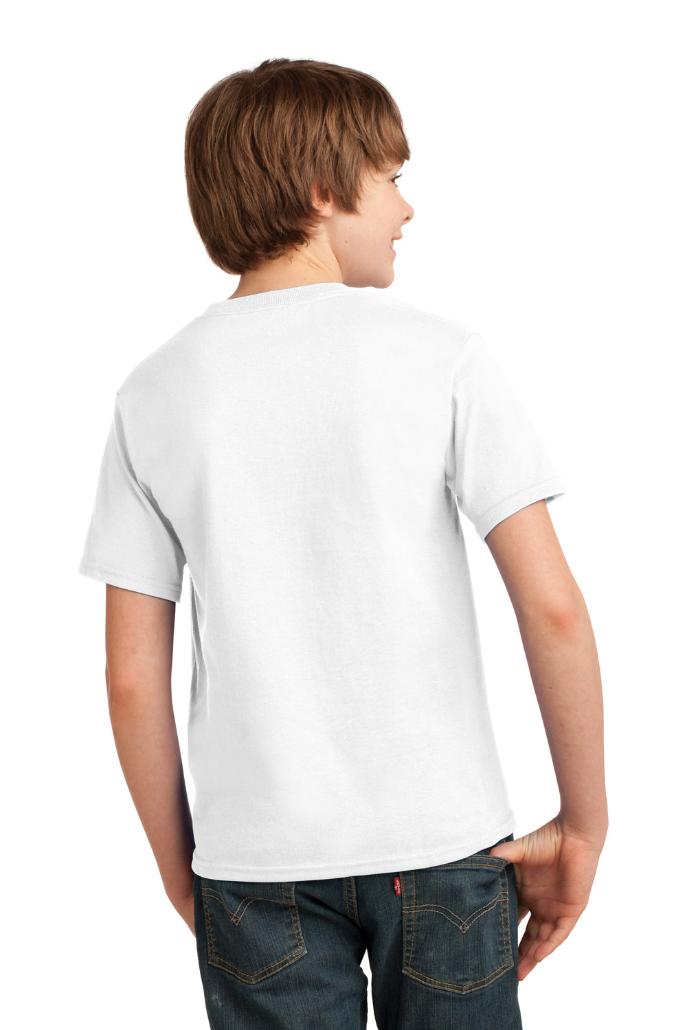 Port & Company PC61Y Youth Essential Short Sleeve Crewneck T-Shirt White Back