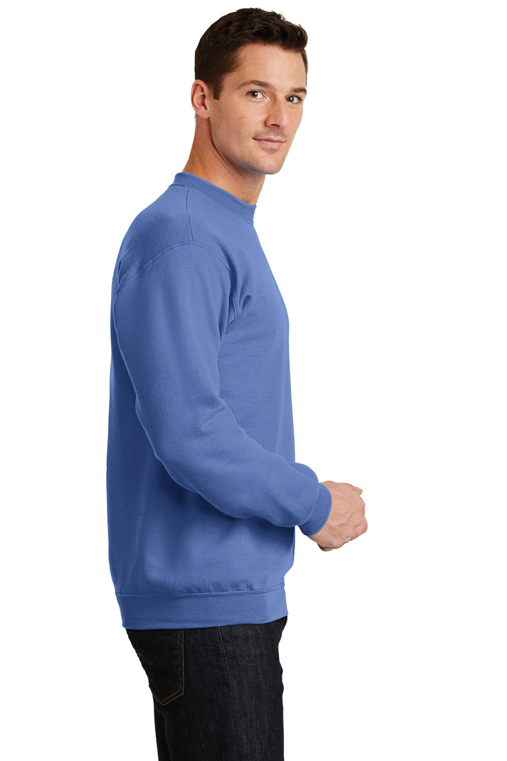 Port & Company PC78 Mens Core Fleece Crewneck Sweatshirt Carolina Blue Side