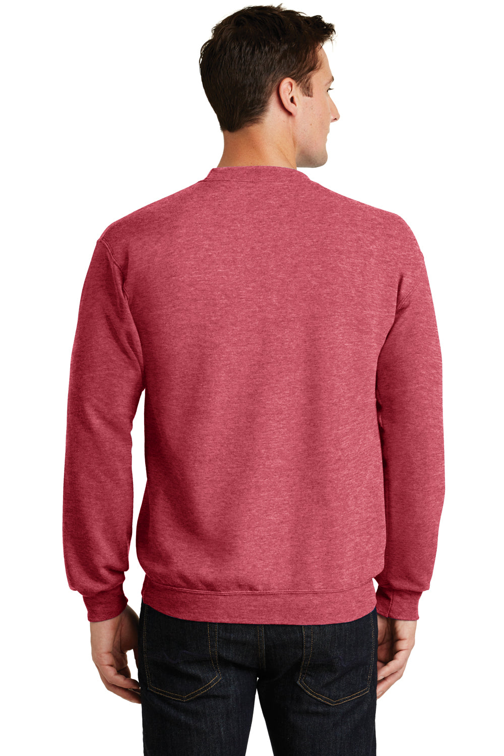 Port & Company PC78 Mens Core Fleece Crewneck Sweatshirt Heather Red Back