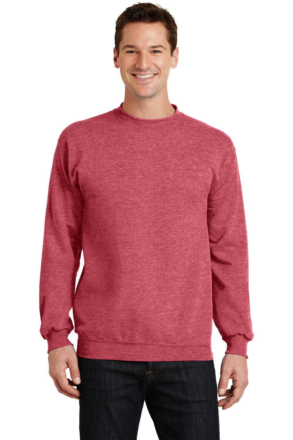Port & Company PC78 Mens Core Fleece Crewneck Sweatshirt Heather Red Front