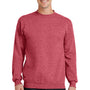 Port & Company Mens Core Fleece Crewneck Sweatshirt - Heather Red