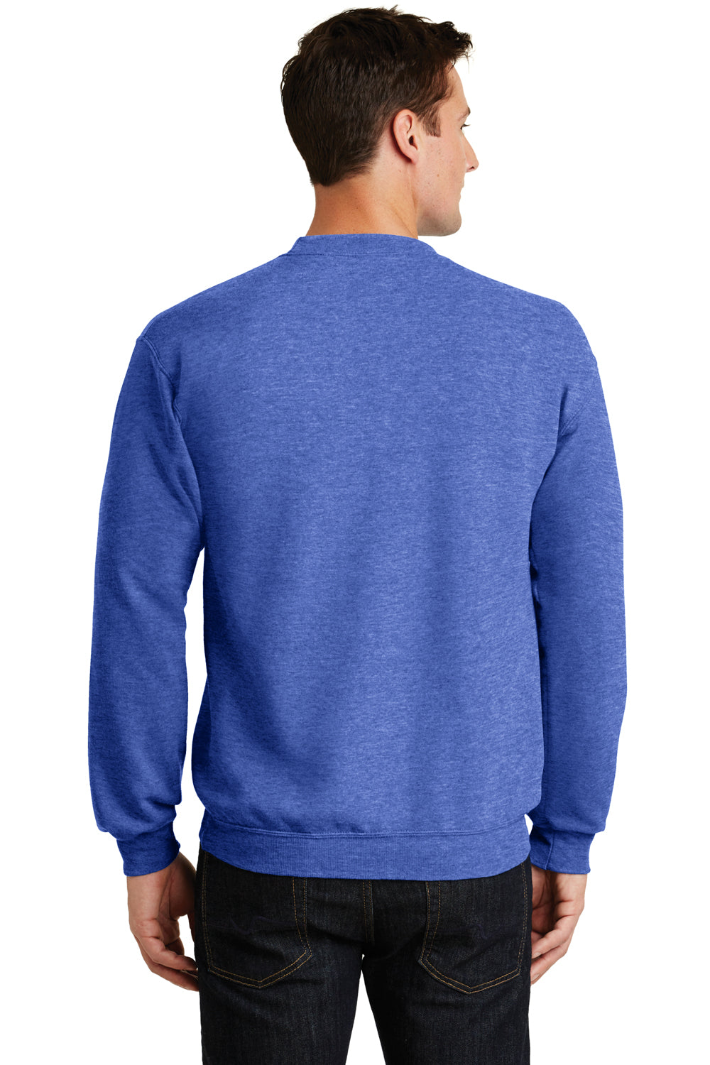 Port & Company PC78 Mens Core Fleece Crewneck Sweatshirt Heather Royal Blue Back