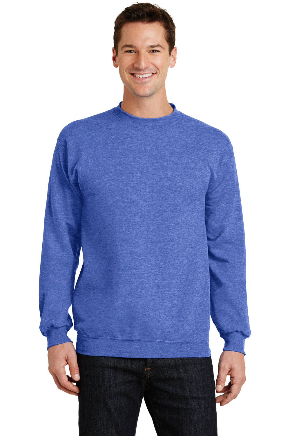 Port & Company PC78 Mens Core Fleece Crewneck Sweatshirt Heather Royal Blue Front