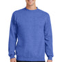 Port & Company Mens Core Fleece Crewneck Sweatshirt - Heather Royal Blue