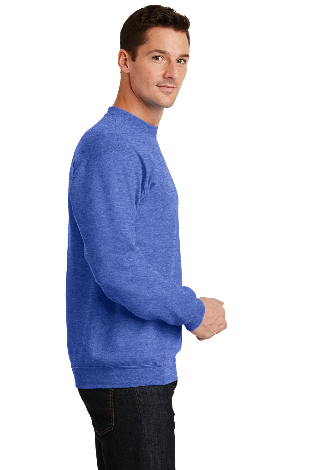 Port & Company PC78 Mens Core Fleece Crewneck Sweatshirt Heather Royal Blue Side