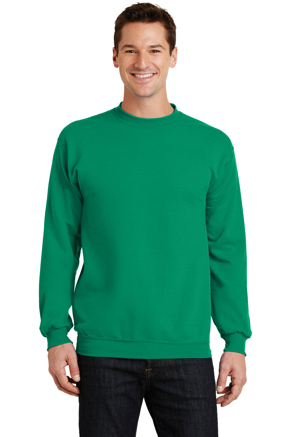 Port & Company PC78 Mens Core Fleece Crewneck Sweatshirt Kelly Green Front